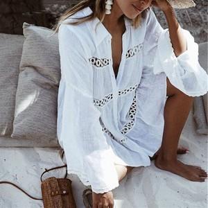 Boho pamučna kačkana tunika haljina za plažu