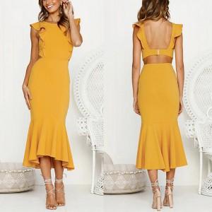 Midi haljina sirena kroja na volane S veličina