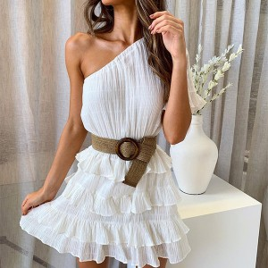 Mini pamučna reljefasta haljina na jedno rame *limitirana kolekcija*
