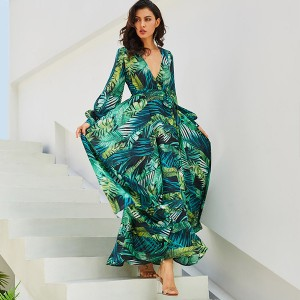 Duga haljina preklopnog izgleda tropskog uzorka *limitirana kolekcija* vel. S/M