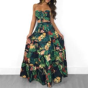 Duga haljina tropskog printa u dva dijela