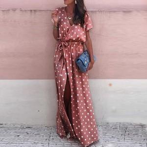 Duga roza točkasta haljina preklopnog izgleda