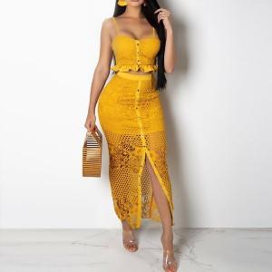 Midi čipkana haljina u dva dijela top + suknja