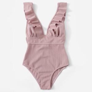Push up jednodijelni kupaći kostim s volanima otvorenih leđa
