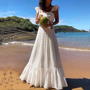 Duga vezena haljina na volane limitirana kolekcija