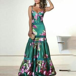 Duga cvjetna haljina na volane limitirana kolekcija
