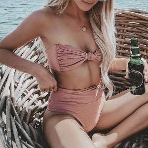 Retro dvodijelni kupaći kostim s čvorom i gaćicama povišenog struka