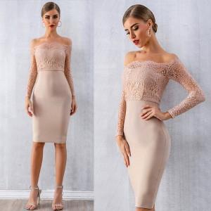 Luksuzna midi bandage čipkana haljina otvorenih ramena *premium kvaliteta*