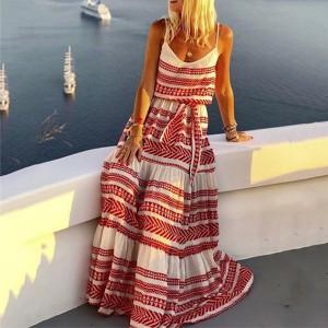 Duga boho haljina geometrijskog printa