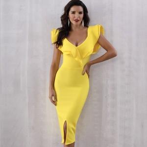 Luksuzna midi bandage haljina na volane otvorenih ramena *premium kvaliteta*
