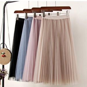 Midi plisirana suknja od tila