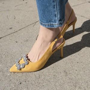 Elegantne cipele izgleda brušene kože s kristalnom kopčom 4 boje