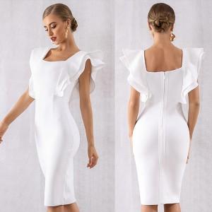Luksuzna midi bandage haljina s volanima na ramenima *premium kvaliteta*