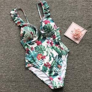 Push up jednodijelni cvjetni kupaći kostim na volane