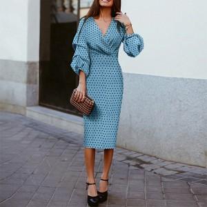 Midi točkasta haljina nabranih rukava *limitirana kolekcija*