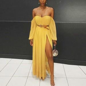 Duga haljina od šifona otvorenih ramena