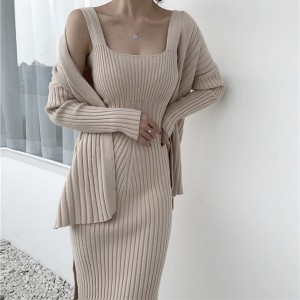 Komplet pletena midi haljina + kardigan