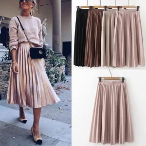 Midi plisirana suknja pastelnih boja