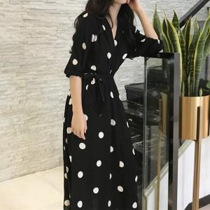 Midi haljina preklopnog izgleda na točkice