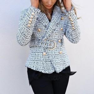 Karirani kaput blazer od tvida s remenom *limitirana kolekcija*