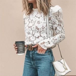 Vintage čipkana cvjetna bluza puf rukava