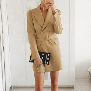 Ženska kaput blazer haljina s remenom