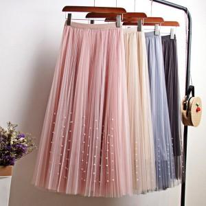Midi plisirana suknja s biserima