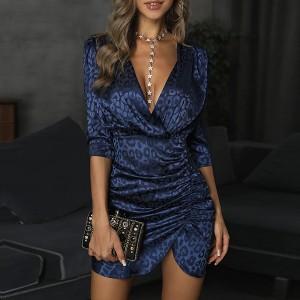 Elegantna nabrana haljina leopard printa