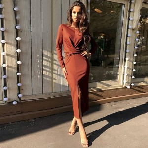 Midi haljina preklopnog izgleda ciglaste boje