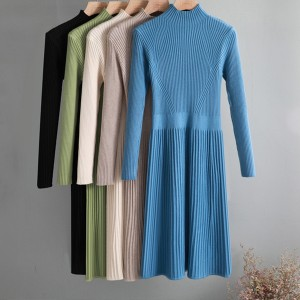 Midi pletena plisirana haljina premium kvaliteta