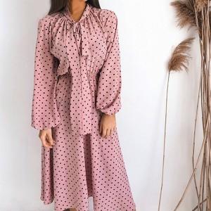 Midi haljina s mašnom na točkice *limitirana kolekcija*