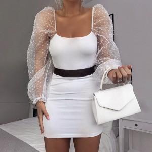 Mini rebrasta haljina puf rukava 2 boje