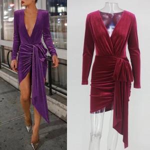 Mini baršunasta haljina preklopnog izgleda