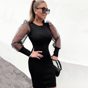 Mini haljina providnih puf rukava