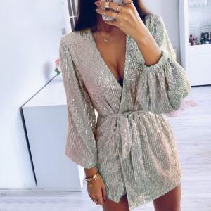 Mini preklopna haljina sa šljokicama