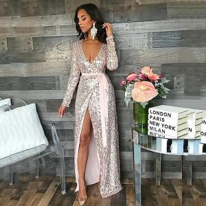 Duga preklopna haljina sa šljokicama
