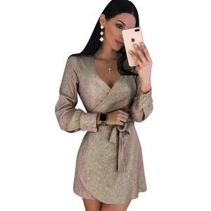 Mini glitter haljina s bisernim gumbima na rukavima