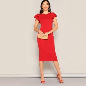 Midi crvena haljina na volane