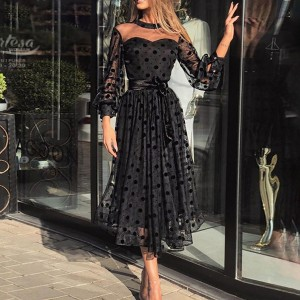 Midi vintage haljina na točkice veličina XL