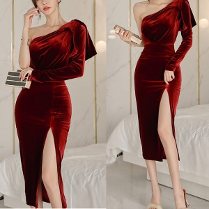 Luksuzna midi baršunasta haljina ne jedno rame *limitirana kolekcija*