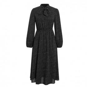 Midi vintage točkasta haljina s mašnom