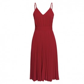 Midi plisirana haljina na bretele