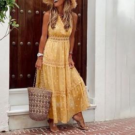 Duga točkasta haljina s uvezom 5 BOJA