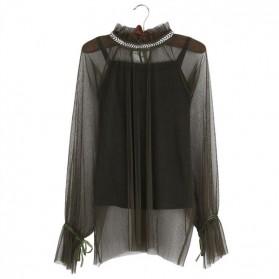 Elegantna bluza s kristalima na ovratniku