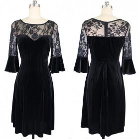 Luksuzna baršunasta midi haljina s čipkom