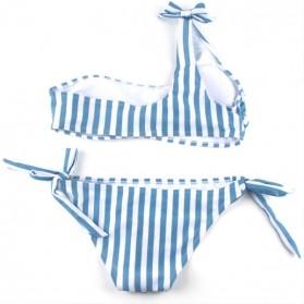 Dvodijelni push up prugasti kupaći kostim na jedno rame