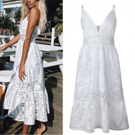 Midi bijela čipkana haljina s dugmadi