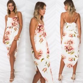 Boho asimetrična cvjetna haljina na bretele