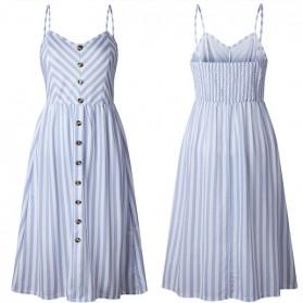 Midi prugasta haljina s gumbima
