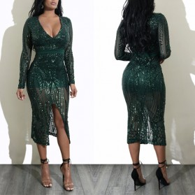 Midi luksuzna haljina dubokog v izreza na šljokice